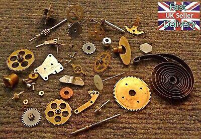VINTAGE CLOCK PARTS. COGS, MAINSPRING, NUTS, SCREWS, WASHERS & BOLTS etc. 83g.