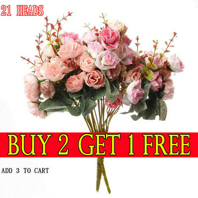21 HEADS ARTIFICIAL SILK FLOWERS ROSE BUNCH Wedding Home Grave Outdoor Bouquet O