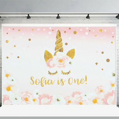 7x5ft 5x3ft Pink Flower Unicorn Baby Backdrop Photography Background Studio