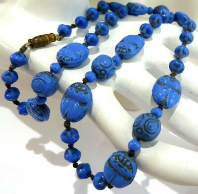 Antique Art Deco  Egyptian  Revival Max Neiger Czech Scarab Beetle Bead Necklace