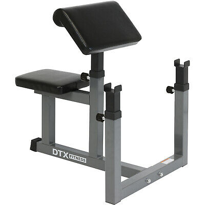 DTX Fitness Preacher Arm Curl Barbell Weight Bench Bicep Seated Home Gym Workout