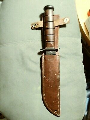 KA-BAR US Marine Corps Fighting Knife/utility Knife with leather sheath. Awesome