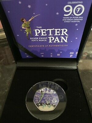 Peter Pan 2019 Silver Proof  Coloured 50p Coin only 10,000 Low Number 87