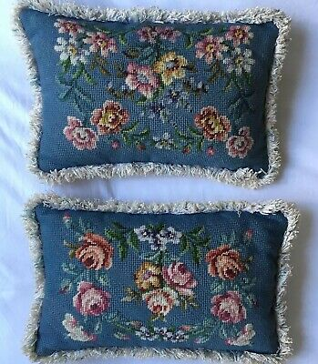 VINTAGE Pair Of Stunning Needlepoint  Floral Flower Tapestry CUSHION'S Fringe