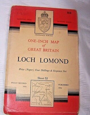Map, Ordnance Survey, Loch Lomond, Scotland, Seventh Series, Sheet 53, 1956