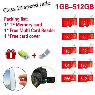 Flash TF Speicherkarte Klasse 10 Micro SD 1-512GB SDHC SDXC  Inklusiv Adapter