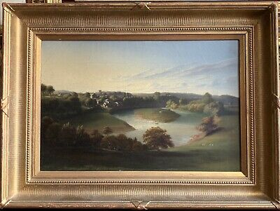 Fine Antique Georgian English Oil Painting - Lake Landscape Houses & Animals
