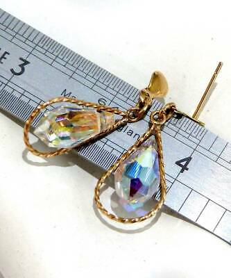 VINTAGE 9ct SOLID GOLD RAINBOW CRYSTAL GLASS  DANGLE EARRINGS SCRAP GOLD OR WEAR
