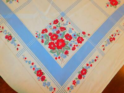 """Vintage Cotton Printed TABLECLOTH Blue Red FLoral 47"""" x 49"""""""