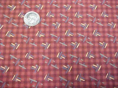 Cotton Fabric Quilt Sew Material Sew Crafts Printed Thimble Berries RED Checks
