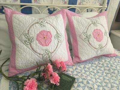 """Cottage Perfect! Vintage 30s Densely Quilted Pink POSY QUILT Pillow 20""""#2"""