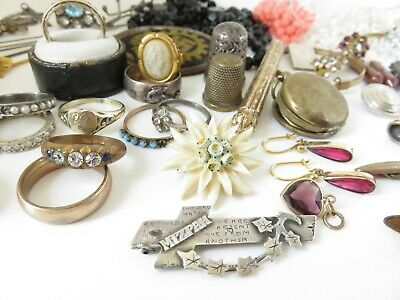 Antique Victorian Jewellery Silver Brooches Rings Mizpah Locket Earrings Big Lot