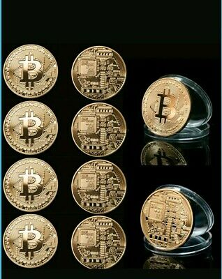 10x Bitcoin Collectors BTC Coin Round Rare Physical Gold Plated Gift Currency