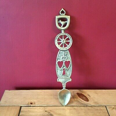 Vintage Large Heavy Solid Cast Brass Welsh Love Spoon