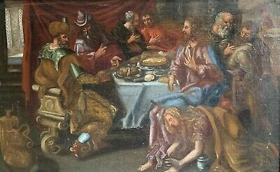 Huge 17Th Century German Old Master Oil Painting - Christ & Lady Washing Feet
