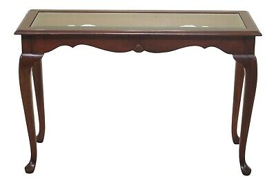 47635EC: Cherry Queen Anne Sofa Or Hall Table w. Glass Top