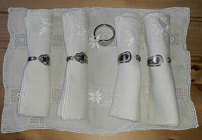 Sheffield Community Silver Plate Napkin Rings - 2 Affection & 3 Alhambra