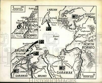 1945 Press Photo Map showing troop movements on Borneo in World War II