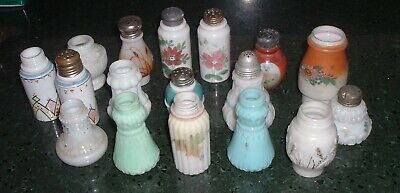 17 Antique Victorian Shakers Opaque Glass Milk , Blue ,Green hand painted EAPG