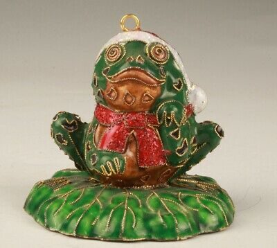 Chinese Cloisonne Enameled Pendant Statue Old Animal Frog Artefact Collection