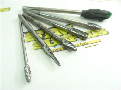 """Lot Of 6 Assorted Solid Carbide & Carbide Head Burrs 1/8"""" & 1/4"""" Long Shanks"""