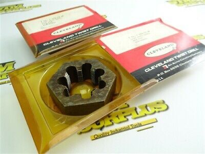"""New! Pair Of Cleveland 2-3/4"""" Od Hss Hex Dies 1-3/8""""-12Nf"""
