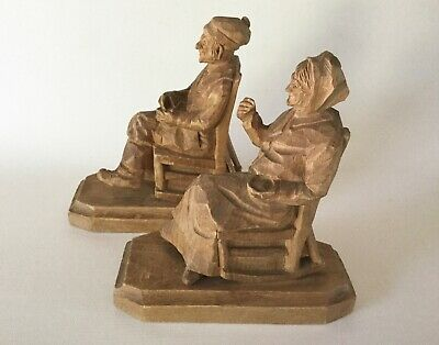 "Andre BOURGAULT Pair Hand Carved Wood Man & Woman on Rocking Chairs 6.5"" Quebec"