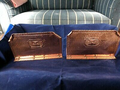 Antique Signed Roycroft Hand Hammered Copper Owl Bookends Arts & Crafts