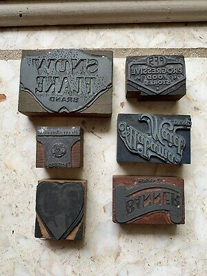 Vtg Lot 6 Letterpress Printer Blocks Metal Wood Stamps ALABAMA MAID SNOWFLAKE