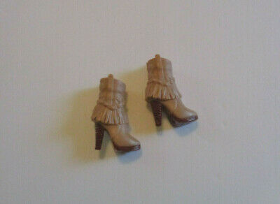Mattel Barbie Fashionista Model Light Brown Fringe Ankle Boots EUC