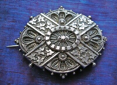 Beautiful antique Victorian Silver ornately engraved brooch hallmarked 1884
