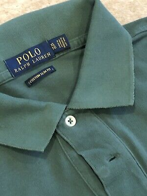 Mens Green Ralph Lauren Polo Shirt / Slim Fit /Size Large. Ex Condition.