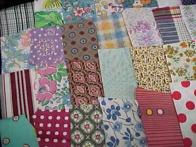 BEST 35 Prints Vintage Cotton Quilt Fabric 1930s Scraps Remnants Crafts LOT