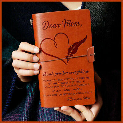 To son/wife/mom/ Love Engraved Leather Notebook Diary Journal Notebook Diary