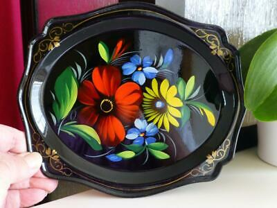 Vintage Lleha Hand Painted Toleware Tole Ware Small Decorative Tray
