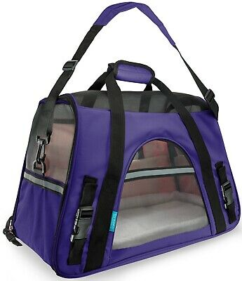 Pet Carrier Soft Sided Small Cat / Dog Comfort Violet Purple Bag Travel Approved
