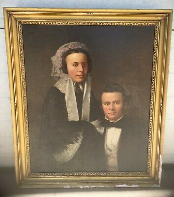 incredible Singned Early American Portrait Oil On Canvas from new england area