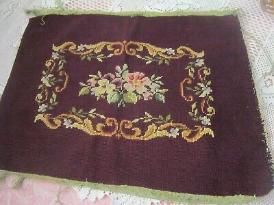 "VINTAGE NEEDLEPOINT PIANO BENCH SEAT COVER  Flowers Roses Handmade 15"" x 20"""