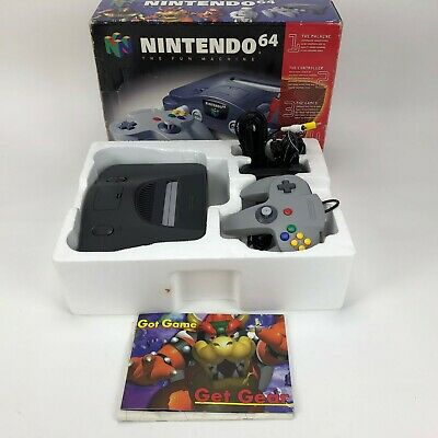Nintendo 64 Launch Edition Charcoal Grey Console Complete in Box-Tested