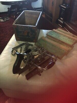 1895 STANLEY No 55 UNIVERSAL COMBINATION PLANE w/CUTTERS in ORIGINAL BOX-ANTIQUE