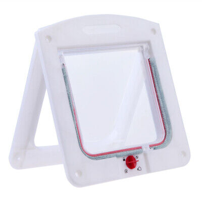 UN3F Lockable Cat Flap Door Kitten Dog Pet Lock Suitable for Any Wall White