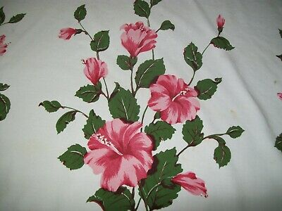 Vintage California Hand Prints Tablecloth Hibiscus Flowers