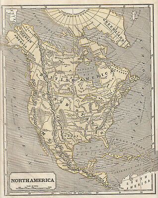 Sidney E Morse, antique 1849 Harper's System of Geography map:NORTH AMERICA