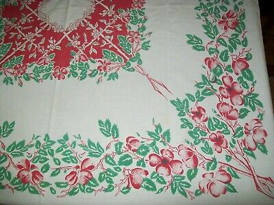 Vintage Tablecloth Red Flowers