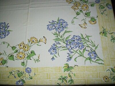 Vintage Tablecloth Blue & Yellow Flowers