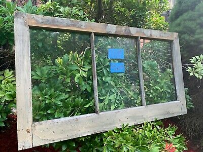Antique Vintage Basement Window sash 34 x 19 old 3 pane from 1900 Arts & Crafts