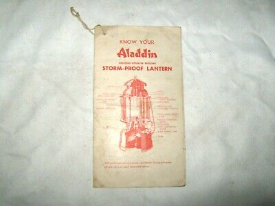 A Vintage Bi Fold Know Your Aladdin Lantern Operation Maintenance Booklet