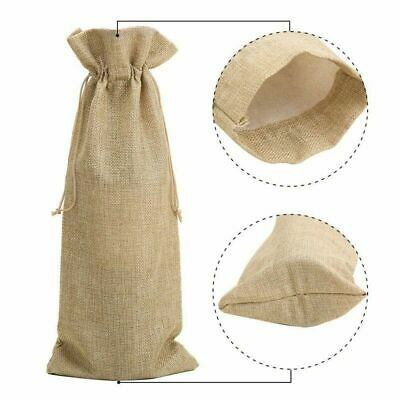 """10pcs Jute Wine Bags, 16"""" x 6.7"""" Hessian Wine Bottle Gift Bags with Drawstring"""