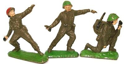 F.g. Taylor 1950'S Plastic Toy Soldiers 3 Pieces - V.rare