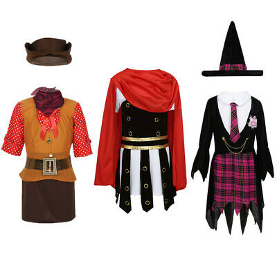 Kids Boy Girl Costume Cowgirl Witch Roman Warrior Cosplay Halloween Fancy Dress